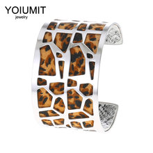 Cremo Leopard Print Interchangeable Leather Bracelet Manchette Femme Yoiumit Stainless Steel Jewelry Cuff Bangles Pulseiras(China)
