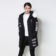 Winter Europe and the United States new Long section Big collar Letter printing Large size Down jacket