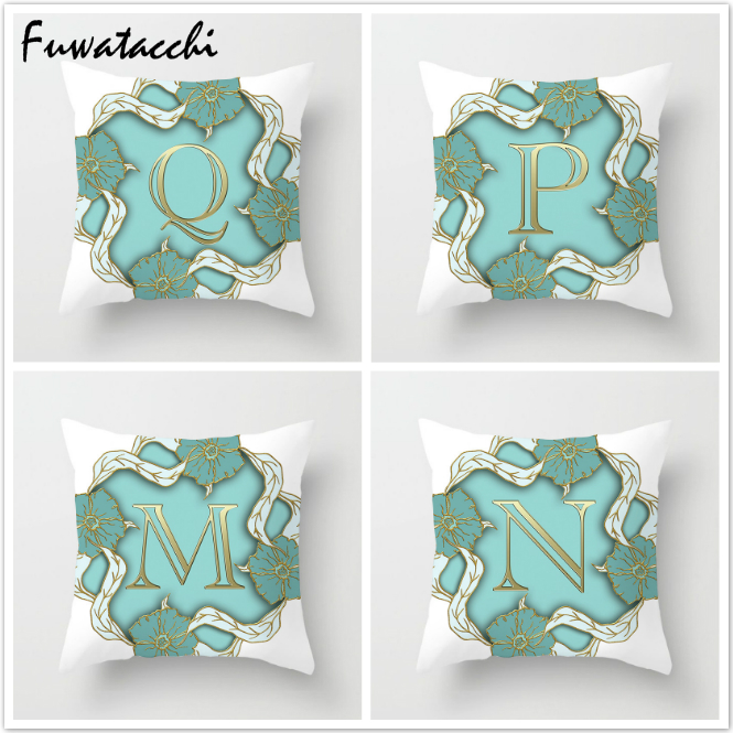 Fuwatacchi 26 Alphabet Cushion Cover Gold Letter Pillow Cover Flower Throw Pillows Soft Decorative Pillowcase For Home Sofa 2019