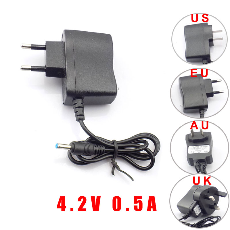 AC 110V 220v To DC 4.2V 0.5A 500ma Power Adapter supply for 3.7V 18650 rechargeable Battery led torch US EU UK AU 3.5*1.35mm ac 18v 500ma 9w output uk power supply adapter transformer easy installation for video ring doorbell
