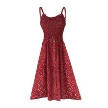 Women Dress Sexy Backless Polk Dot Print Party Sleeveless Midi A-line  Spaghetti Strap Button Sundress