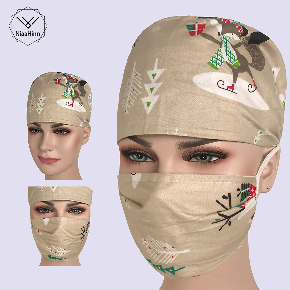 Doctor  Nurse Unisex Pharmacy Scrub Cap Surgical Hospital Adjustable Medical Surgery Caps Scrub Lab Clinic Dental Operation Hats