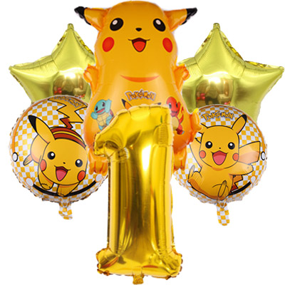 Pokemon Go Pikachu Helium Balloon Pocket Monster number boy golden 1 2 3 4 5 6 <font><b>8th</b></font> <font><b>Birthday</b></font> Party Decorations kids toy image