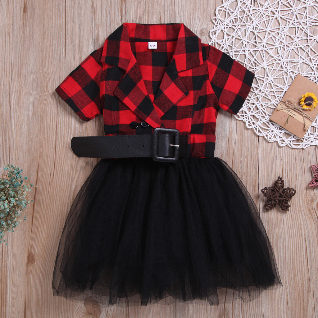 Princess Party Sundress-Dress Tulle Toddler Baby-Girl Casual Plaid Vestido Patchwork