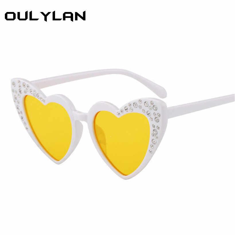 69d8e385849 ... Oulylan Kids Rhinestone Sunglasses Baby Heart shaped Sun Glasses Girl  Cute Eyewear Gift For Children Fashion ...
