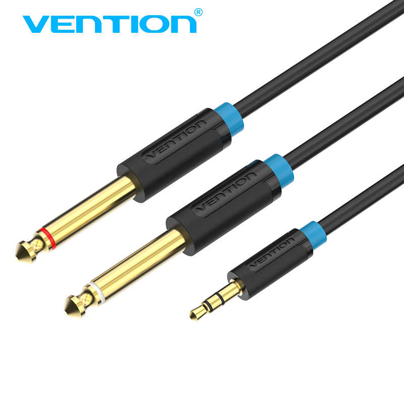 "Vention Audio Cable 6.35mm Male 1/4"" Mono Jack to Stereo 1/8"" Jack 3.5mm to Dual 6.5mm Aux Cable for Mixer Amplifier DVD Player"