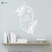 YOYOYU Vinyl Wall Decal Love Yourself Flowers Heart Mirror Motivational Discourse Interior Home Decoration Stickers FD392 discourse