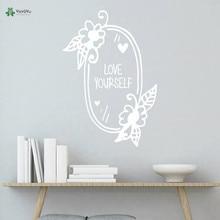 YOYOYU Vinyl Wall Decal Love Yourself Flowers Heart Mirror Motivational Discourse Interior Home Decoration Stickers FD392