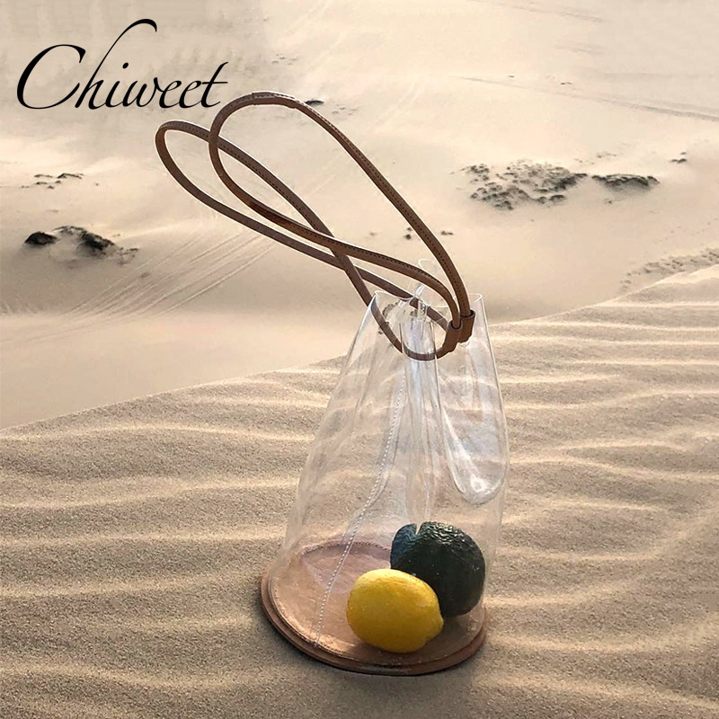 Brand 2019 Designer Summer Bag For Beach Jelly Transparent Handbags Clear Drawstring Women Bucket Bags Ladies Shoulder Bags Tote