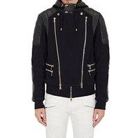 Новое поступление 2019 Осенняя брендовая модная мужская двойная молния кардиган толстовки повседневное пальто одежда хлопок мужской кардиг
