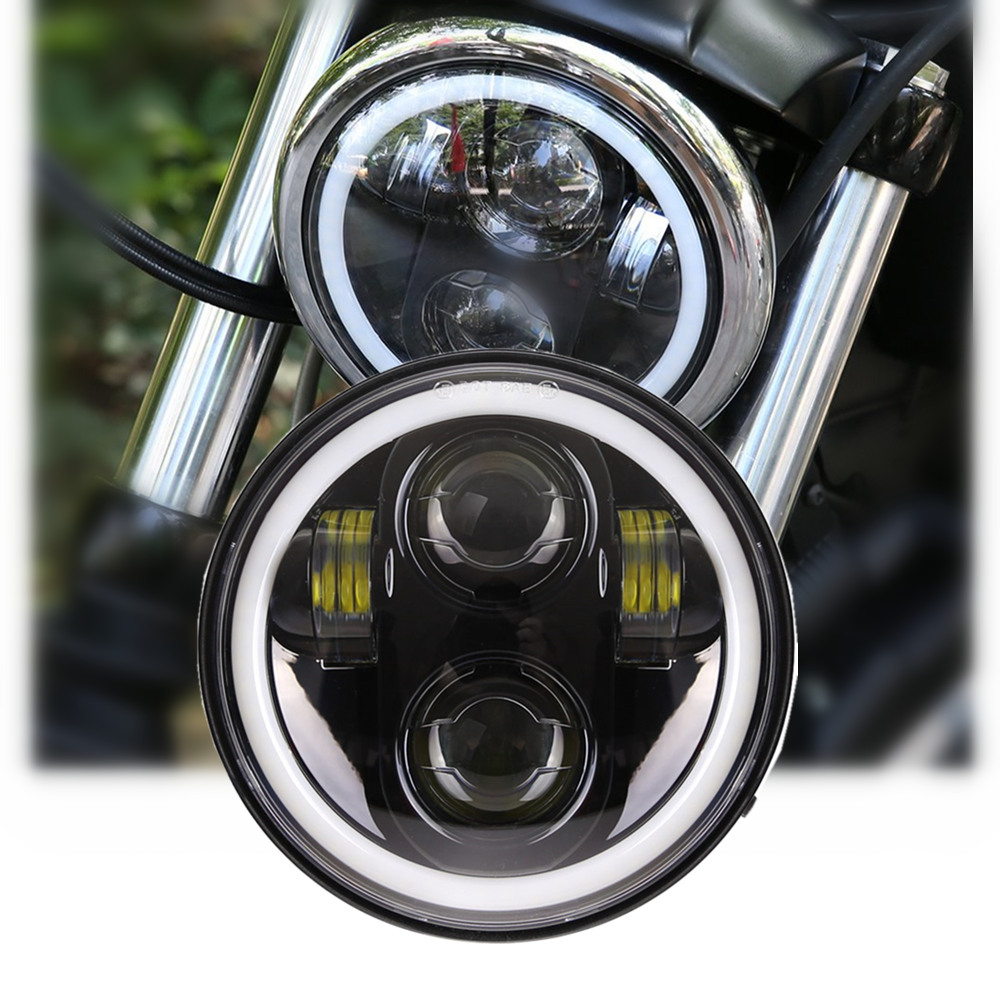 5-3/4 5.75 inch Motorcycle LED Projector Full Halo Headlight For  Sportster5-3/4 5.75 inch Motorcycle LED Projector Full Halo Headlight For  Sportster