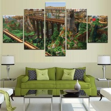 Modern Canvas Painting Modular Wall Art Game Minecraft Pictures Home Decor Living Room 5 Pieces Landscape Architecture Poster