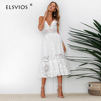 ELSVIOS Fashion Spaghetti Strap Backless Women Dress 2018 Summer Style V Neck Sexy Lace Dresses Casual
