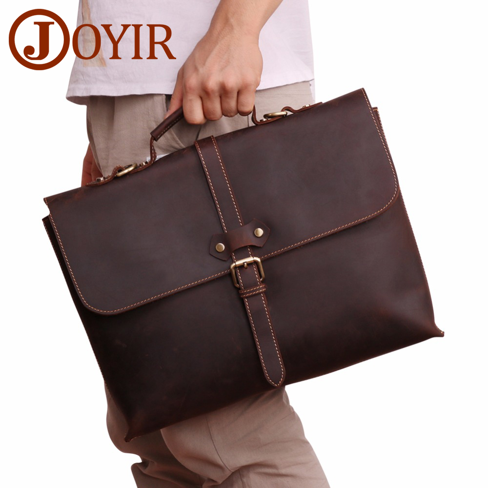 JOYIR  Men's Briefcase Crazy Horse Leather Genuine Laptop Handbag Totes Business Men Messenger Bags Leather Laptop Computer Bag