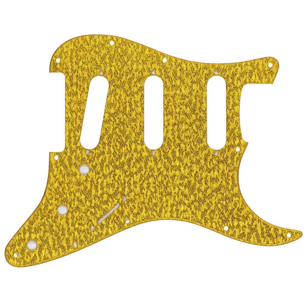 FLEOR 11 Holes Guitar Pickguard Strat SSS Scratch Plate & Screws for Mexican/American Modern Standard FD Strat  ,Sparkle Golden
