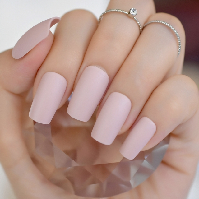 Apricot Cream Korea Fake Nails Medium Square Matte Colorful Acrylic Nail Tips Artificial Abs Supplier