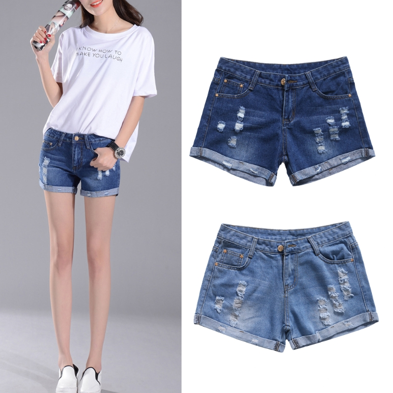 Women's   Denim Shorts Vintage Ripped Curl Loose Pockets Punk  Jeans W730 zengli mens denim cargo shorts jeans casual vintage blue pockets biker jeans summer knee length denim shorts 40 42 44 46 48