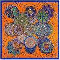 90 см * 90 см Шелковый Шарф Мода Стиль Женщины Большой Площади Шарфы Синий Orange Печатных Шарф Новое Прибытие 2017