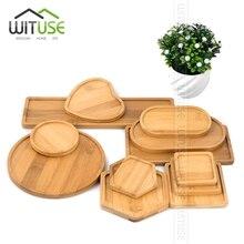 Wituse格安! 正方形ラウンド竹植物植木鉢ホームオフィス装飾プランターポットトレイ盆栽用ボウル保育園ポット