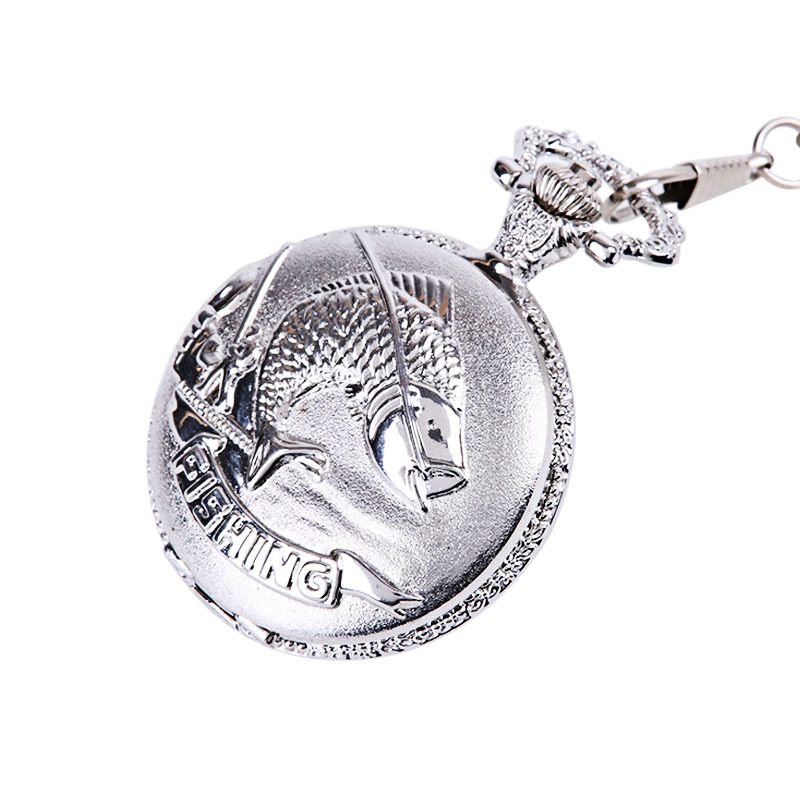 Large Silver Thick Chain Classic Big Squid Pocket Watch Explosion Models Hot All Silver Vintage Pocket Watch With Waist Chain