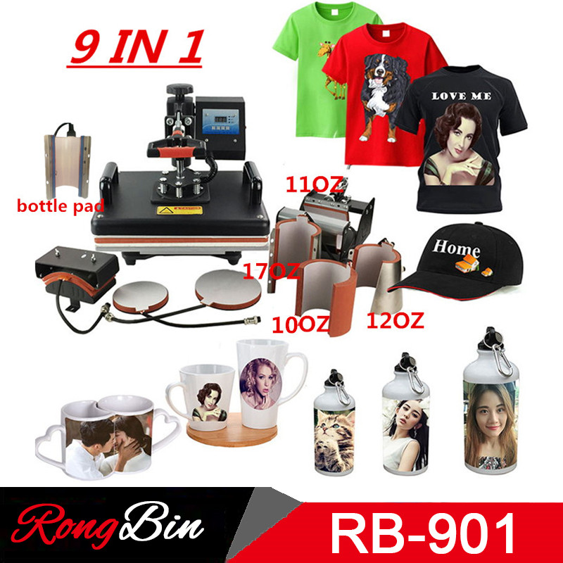 2019 9 In 1 Combo Heat Press Machine Sublimation Heat Press Heat Transfer Machine For T Shirt Mug Plate Bottle Cap Phone Case