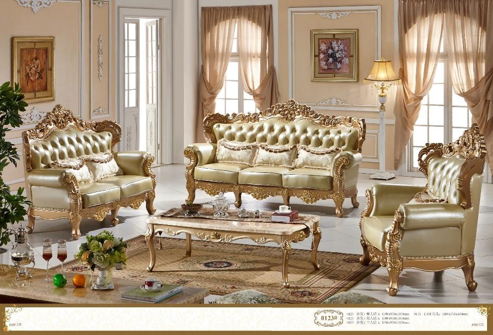Kayu Karet Perabot Ruang Keluarga Mewah Genuine Leather Sofa FS0123