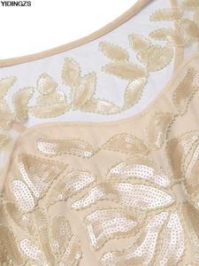 Image 4 - YIDINGZS Womens Vintage Evening Dress Gold Sequins Beading Long Evening Party Dress GA11