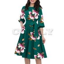 Cuerly Summer Dress Women 2019 A-Line O-Neck Half Sleeve Pocket Mid Calf Summer Dress Floral Print Office Dress Dames Jurken floral print round neck half sleeves vacation a line dress