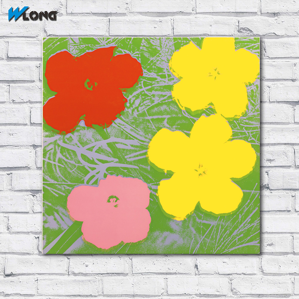 Large size Printing Oil FLOWERS by Andy Warhol colorful wall art ...