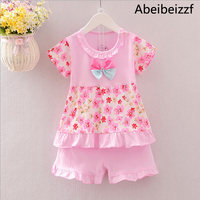 Summer new arrival 2pcs Baby Girl Kids set Short Sleeve short Pants Outfit beautiful flowers Clothes Set Free Shipping