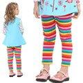 Девушки Мода Повседневная Леггинсы Nova Марка Дети Оказывают брюки для Девочек Радуга Хлопок Брюки 6 размеры