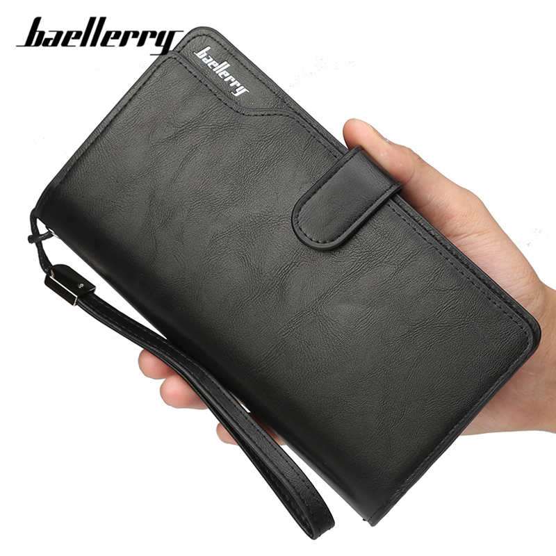 цена на Baellerry Large Capacity Wristband Men Wallets Card Holder Purse Black Artificial Leather Long Business Bag Clutch Wallet Male