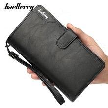 Baellerry большой ёмкость браслет для мужчин женские кошельки Держатель для карт кошелек черный искусственная кожа длинные бизнес сумка клатч