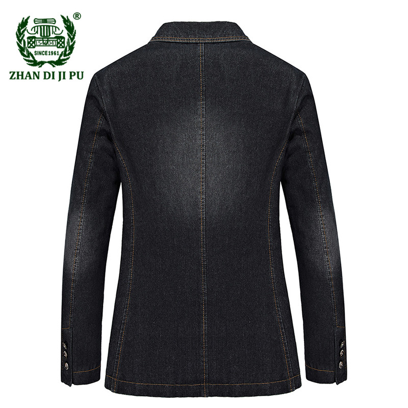 2018 Autumn men's casual brand cowboy cotton black blazer coats man spring afs jeep fashion denim blue blazers slim suits jacket