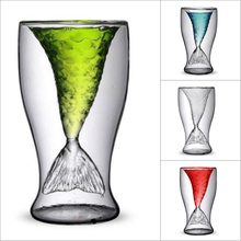 100ml Creative Crystal Mermaid Tail Cup Transparent Glass Fish Practical Wine Heat-resisting Bar Cups