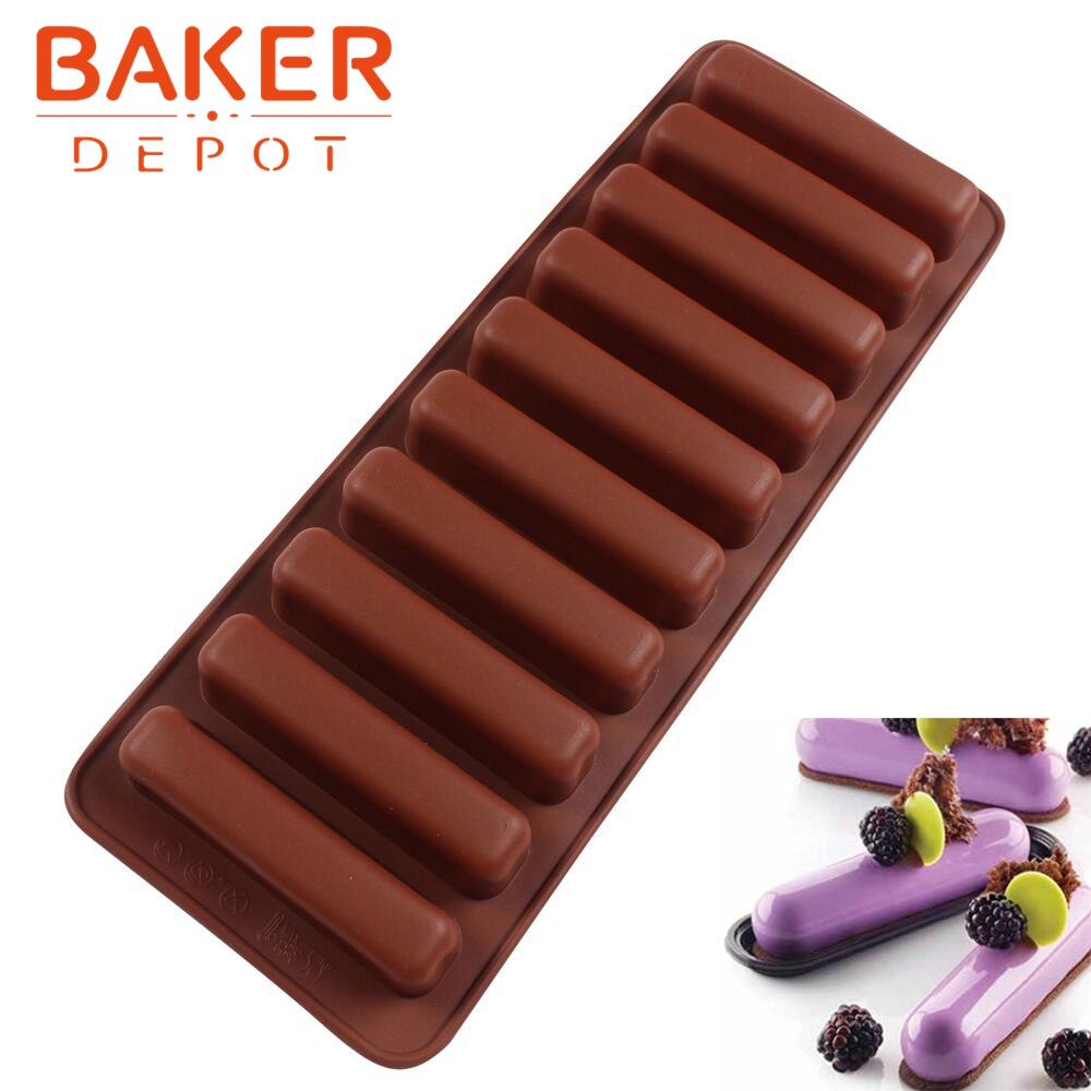 Silicone Bakeware Mold Chocolate Molds 10 Holes Long Finger Cake Molds Thumb Cookies Moulds SICM-215-6