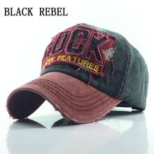 цена на Black Rebel 100% Washed Baseball cap Snapback Hats Autumn Summer Hat for Men Women Caps Casquette hats Letter Embroidery Gorras