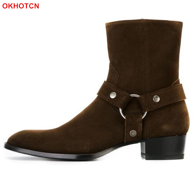 OKHOTCN New Luxury Men Chelsea Boots Side Zip Martin Ankle Boots Casual Buckle Genuine Leather Men Shoes Sapato Masculino Botas