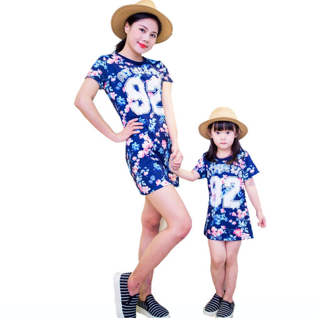 2017 Mother Kid Clothing Mother Daughter Floral Dresses