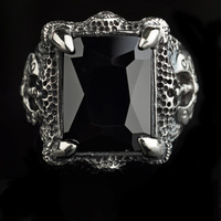 Real Pure 925 Sterling Silver Black Onyx Rings for Men In Fijne Sieraden Dragon Claws Setting Axe Engraved Viking Jewelry Ringen