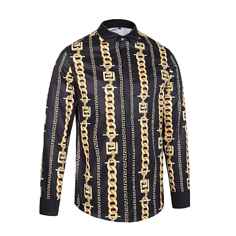 Gold Black Print Shirt Baroque Social Clubt Party Shirt Men Designer Fancy Shirt Men Camisetas Hombre Manga Larga Cuello Redondo