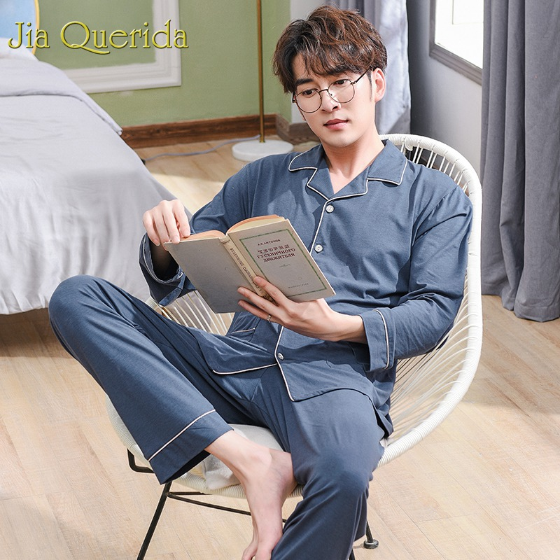 J&Q Men Sleepwear Modal Pajama Men 2019 Fashion Solid Home Sleeping Suits For Men Long Sleeve High Quality Two Piece Male Pj Set