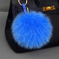 Genuine Fox Fur Pompoms Keychain Real Fur Ball For Hat Top for Women & Children Knitted Hat Accessories Fox Fur Charm
