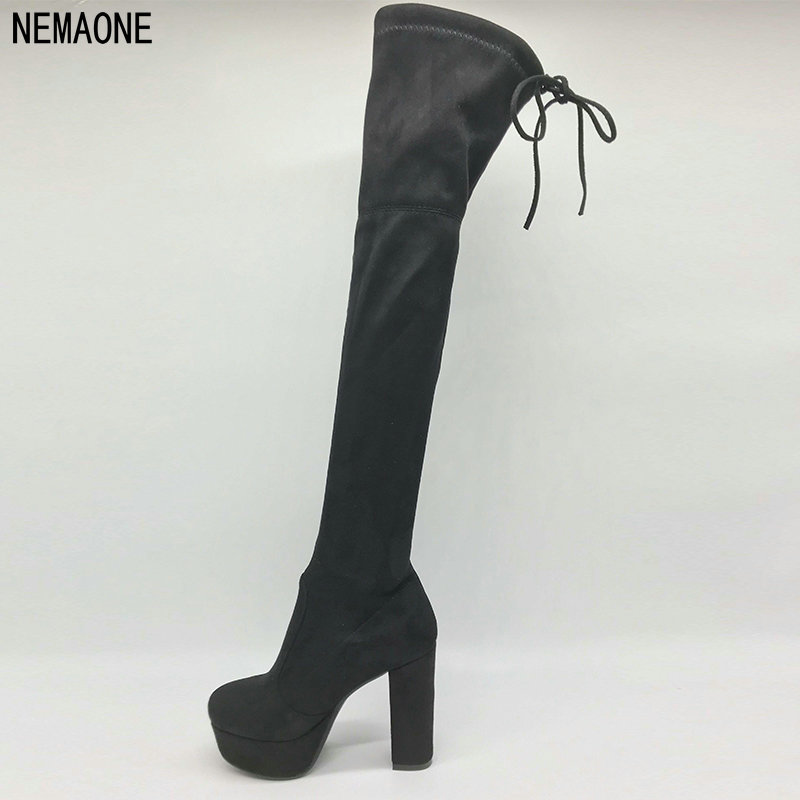 NEMAONE Faux Suede Slim Boots Sexy over the knee high women snow boots women's fashion thigh high boots shoes woman 2017 new women suede slim sexy fashion over the knee boots sexy thin high heel boots platform woman thigh high boots shoes