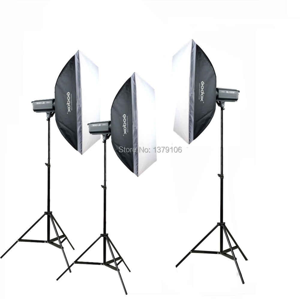 Godox 3PCS SL100W LED 100W Photo Studio Video Continuous Light Kit For Camera DV Camcorder White Version godox led 308y 308 leds professional led video 3300k light with remote control for canon nikon camera dv camcorder