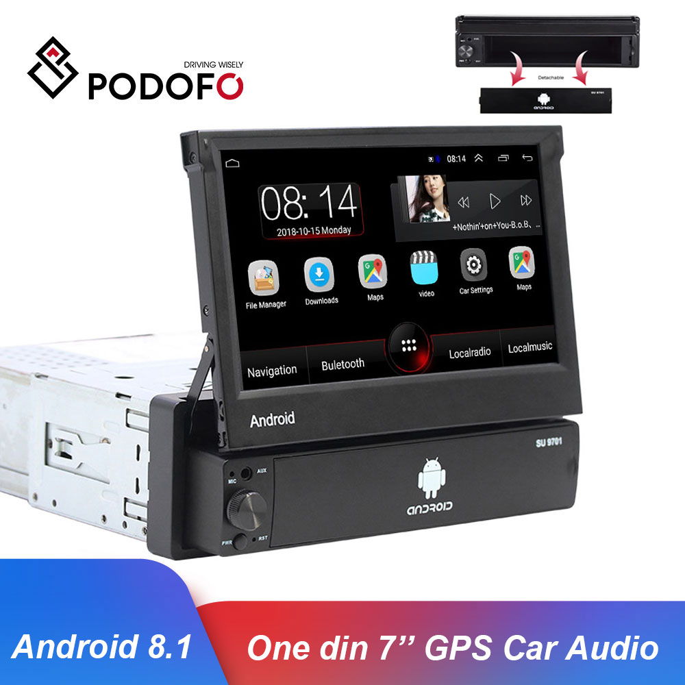 Podofo universal autoradio android 8.1 player multimídia carro rádio do carro estéreo 1 din 7 gps gps wifi bluetooth auto rádio estéreo