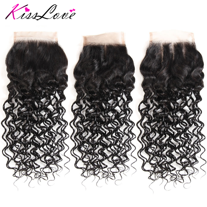 Kiss Love Brazilian Human Hair Water Wave 8-20 Inch 4*4 Lace Closure Natural Color Remy Hair Weaving 1PC/Lot Free Shipping