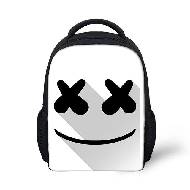 248c8350c Cute Cartoon Marshmello Small Backpack for Teen Girls Boys Shoulder Bag  Creative Travel Mask DJ Women School Bags rugzak Bags