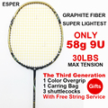 ESPER Badminton Racket 58g Super Licht 9U Racket Carbon Graphite Fiber Professionele Offensief Hoge Spanning Met String en Gift