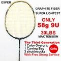 ESPER Racchetta Da Badminton 58g Super Leggero 9U Racchetta Grafite di Carbonio Fibra di carbonio Professionale Offensiva Ad Alta Tensione Con La Stringa e Regalo